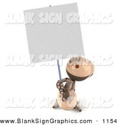 Vector Illustration of a 3d Tan Colored Robot Character Holding up a Blank Sign by Julos
