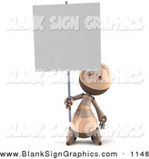 Vector Illustration of a 3d Tan Robie Robot Character Holding up a Blank Sign by Julos