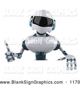 Vector Illustration of a 3d Techno Robot Character Giving the Thumbs up and Standing Behind a Blank Sign, on White by Julos
