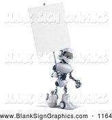 Vector Illustration of a 3d Techno Robot Character Holding a Blank Sign, on White by Julos