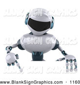 Vector Illustration of a 3d Techno Robot Character Pointing down at a Blank Sign by Julos