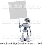 Vector Illustration of a 3d Techno Robot Character Standing and Holding a Blank Sign by Julos
