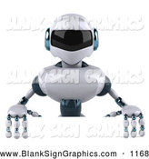 Vector Illustration of a 3d Techno Robot Character Standing Behind a Blank Sign for Advertising by Julos