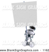 Vector Illustration of a 3d Technology Robot Character Holding a Blank Sign by Julos