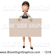 Vector Illustration of a 3d White Businesswoman Character Holding up a Blank Check Shaped Sign by Julos