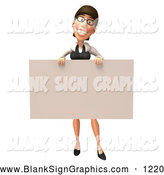 Vector Illustration of a 3d White Businesswoman Character Holding up a Blank Sign or Check by Julos