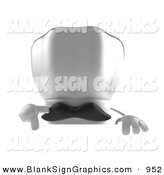 Vector Illustration of a 3d White Chefs Hat Character with a Mustache, Pointing down and Standing Behind a Blank Sign by Julos