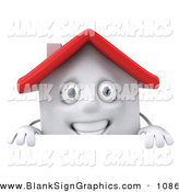 Vector Illustration of a 3d White Clay Home Character Standing Behind a Blank Sign by Julos