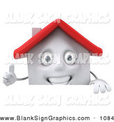 Vector Illustration of a 3d White Clay House Character Giving the Thumbs up and Standing Behind a Blank Sign by Julos