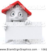 Vector Illustration of a 3d White Clay House Character Holding a Blank Business Card by Julos