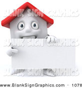 Vector Illustration of a 3d White Clay House Character Holding a Blank Business Card - Version 2 by Julos