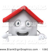 Vector Illustration of a 3d White Clay House Character Pointing down and Standing Behind a Blank Sign by Julos