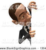 Vector Illustration of a 3d White Corporate Businessman Character Looking Around a Blank Sign on White by Julos