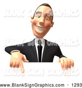 Vector Illustration of a 3d White Corporate Businessman Character Pointing down and Standing Behind a Blank Sign, on White by Julos
