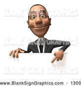 Vector Illustration of a 3d White Corporate Businessman Character Pointing down and Standing Behind a Blank White Sign by Julos