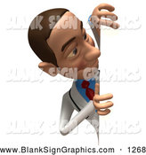 Vector Illustration of a 3d White Male Doctor or Businessman Character Looking Around a Blank Sign by Julos