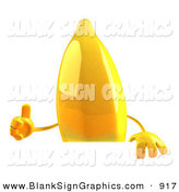 Vector Illustration of a 3d Yellow Banana Cartoon Character Giving the Thumbs up and Standing Behind a Blank Sign by Julos