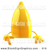Vector Illustration of a 3d Yellow Banana Character Giving a Peace Gesture and Standing Behind a Blank White Sign by Julos