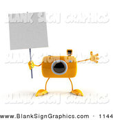Vector Illustration of a 3d Yellow Camera Boy Character Holding up a Blank Sign, on White by Julos