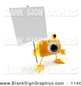 Vector Illustration of a 3d Yellow Camera Boy Character Holding up a Blank Sign over White by Julos