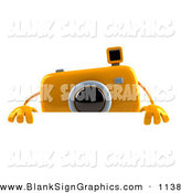 Vector Illustration of a 3d Yellow Camera Boy Character Standing Behind a Blank White Sign by Julos