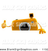 Vector Illustration of a 3d Yellow Flash Windup Camera Boy Character Giving the Thumbs up and Standing Behind a Blank Sign by Julos