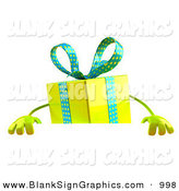 Vector Illustration of a 3d Yellow Present Character Standing Behind a Blank Sign on White by Julos