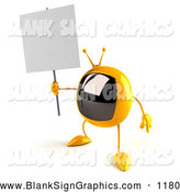Vector Illustration of a 3d Yellow Square Tele Character Holding up a Blank Sign, on White by Julos