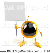Vector Illustration of a 3d Yellow Square Television Character Holding up a Blank Sign by Julos
