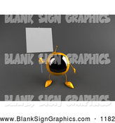 Vector Illustration of a 3d Yellow Square Television Character Holding up a Blank Sign on Gray by Julos