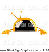 Vector Illustration of a 3d Yellow Square Television TV Character Standing Behind a Blank Sign by Julos