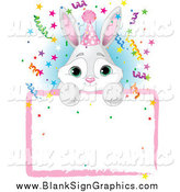 Vector Illustration of a Adorable Gray and White Bunny Wearing a Party Hat and Looking over a Blank Party Sign with Colorful Confetti by Pushkin
