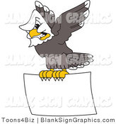 Vector Illustration of a Bald Eagle Flying a Blank Sign by Toons4Biz