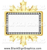 Vector Illustration of a Banner Bordered in Diamonds and Gold Bursting Stars by Andrei Marincas