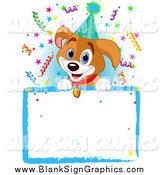 Vector Illustration of a Beagle Puppy Wearing a Party Hat over a Blank Sign with Colorful Confetti by Pushkin