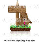 Vector Illustration of a Bear and Blank Pencil Sign by Andrei Marincas