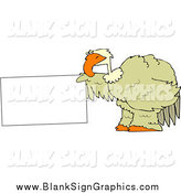 Vector Illustration of a Big Green Bird Holding out a Blank Sign by Djart