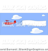 Vector Illustration of a Biplane and Blank Sign by David Barnard