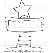 Vector Illustration of a Black and White Blank North Pole Sign with Snow and a Red Star by Pams Clipart