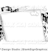 Vector Illustration of a Black and White Blank Sign Against a Highway and Urban City by BNP Design Studio