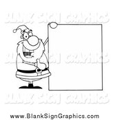 Vector Illustration of a Black and White Santa Holding a Blank Sign Board by Hit Toon