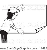 Vector Illustration of a Black and White Worker Man Hanging up a Blank Poster by David Rey