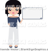 Vector Illustration of a Black Haired Woman Dressed in White and Blue, Holding up a Blank Sign by Melisende Vector