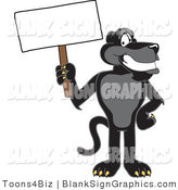 Vector Illustration of a Black Jaguar Holding a Blank Sign by Toons4Biz