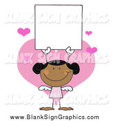 Vector Illustration of a Black Stick Cupid Girl Holding a Blank Sign by Hit Toon