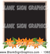October 16th, 2013: Vector Illustration of a Blank Black Chalkboard Sign Bordered with Orange Flowers by Pams Clipart
