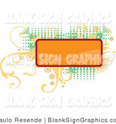 Vector Illustration of a Blank Orange Rectangular Sign over Elegant Yellow Vines and Retro Green Dots over a White Background by Paulo Resende