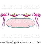 Vector Illustration of a Blank Pink and Blue Text Box Bordered with Pink Flowers and Purple Ribbons, on White by Pauloribau