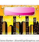 Vector Illustration of a Blank Pink Sign over a Yellow Background with Skyscrapers by Elaineitalia