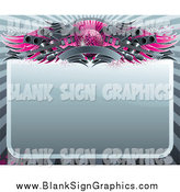 Vector Illustration of a Blank Sign Bordered with a Pink Disco Ball, Wings, Speakers, Guitars and a Banner by Elena
